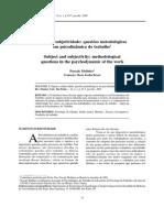 MOLINIER, Pascali. Sujeito e Subjetividade [...] 2003
