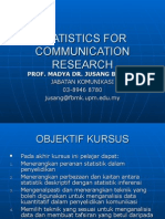 STATISTICS FOR COMMUNICATION RESEARCH