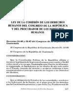 Ley de La Comision de Derechos Humanos Del Congreso y El Procurador de Los Dh