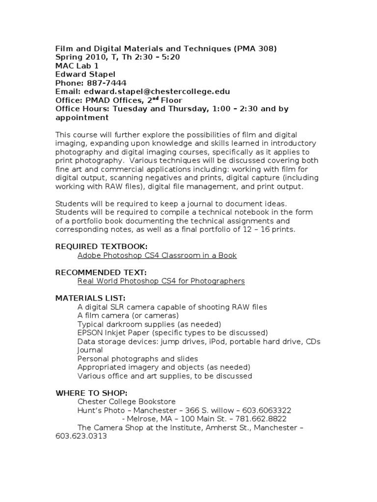 PMA 308 Film And Digital Materials Techniques