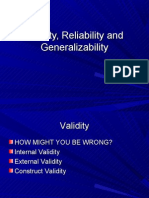 Thursday Validity, Reliability and Generalizabilityupdated