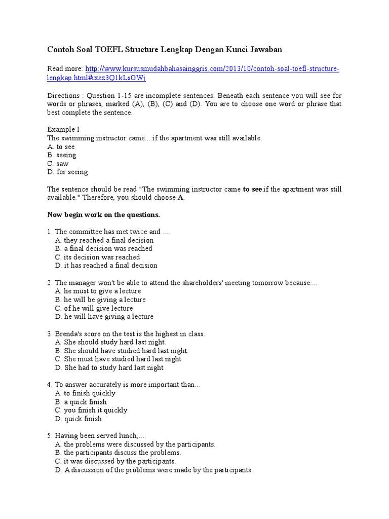 Contoh Soal Tes Toefl Dan Jawabannya Pdf Entrancementif