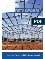 Metalform Max Span Purlins & Girts Design Manual