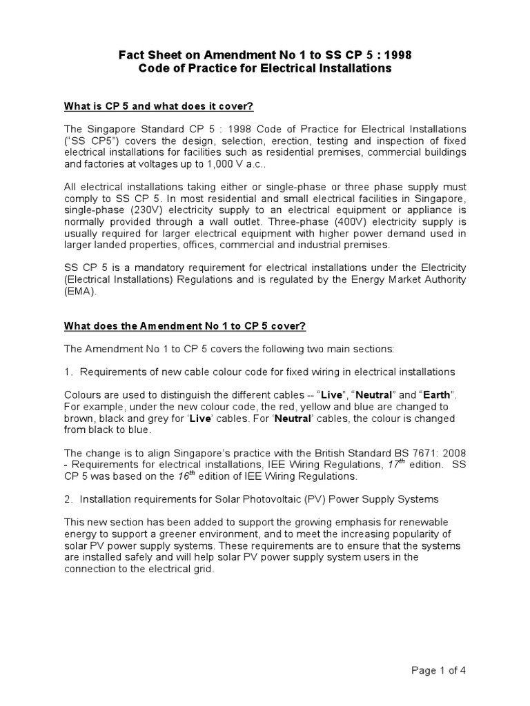 Cp5 Amendment 1 27 Feb 2009 Fact Sheet Electrical Wiring Mains Iee Regulations 17th Edition 3 Electricity