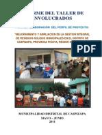 Informe Del Taller de Involucrados - Residuos Solidos