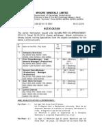 Notification Mysore Minerals Limited Manager Asst Mine Surveyor Other Posts