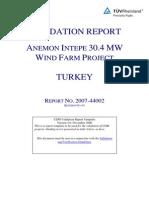 Anemon Intepe 2008 Wind Project Validation Report