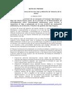 Nota de Prensa Plataforma Talavera sobre sentencia Constitucional