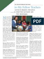Adoptive Families Memo to Teachers