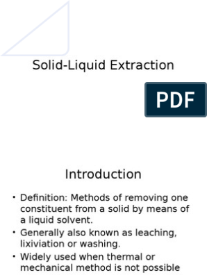 Solid Liquid Extraction Solution Physical Chemistry