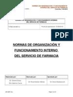 Normas de Organizacion y Funcionamiento Interno Del Servicio de Farmacia
