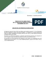 ÍNDICE DE VOLUMEN FISICO DE LA INDUSTRIA MANUFACTURERA DICIEMBRE DE 2014