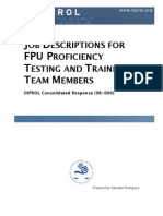 Job Descriptions for FPU Proficiency Testing and Training Team Members (CR 08-004)