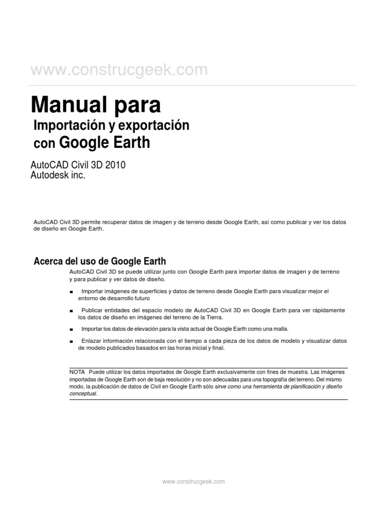 manual para importacion y exportacion con google earth rh scribd com google earth manual install google earth manual español pdf