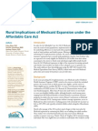 Rural Implications of Medicaid Expansion under the Affordable Care Act