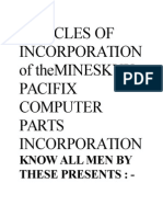 Articles of Incorporationof Themineskyx Pacifix Computer Parts Incorporation