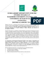 Scholarship Opportunity for Phd Studies Tenable at Udsm and Makerere2015