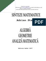 Sinteze matematice de Algebra, Geometrie si Analiza Matematica