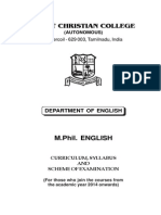 Scott Christian College M.Phil English Syllabus