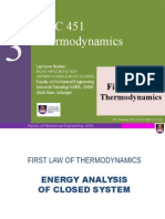 Chapter 3 First Law Thermodynamics