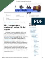 Air Compressor Inlet Valve (or Intake Valve _ Unloader Valve)