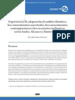 Experiencias de adaptación al cambio climático, conocimientos ancestrales y contemporáneos, y escenarios cualitativos en los Andes