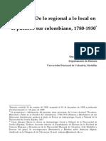 Almario, 2008. de Lo Regional a Lo Local en El Pacifico Sur Colombiano, 1780-1930