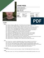 Lewis Joshua Peek - Acting CV 2015