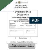 Primera Evalución a Distancia Pruebas Psico.2014