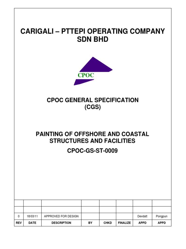 Cpoc Gs St 0009 Rev 0 Painting Specpdf Galvanization