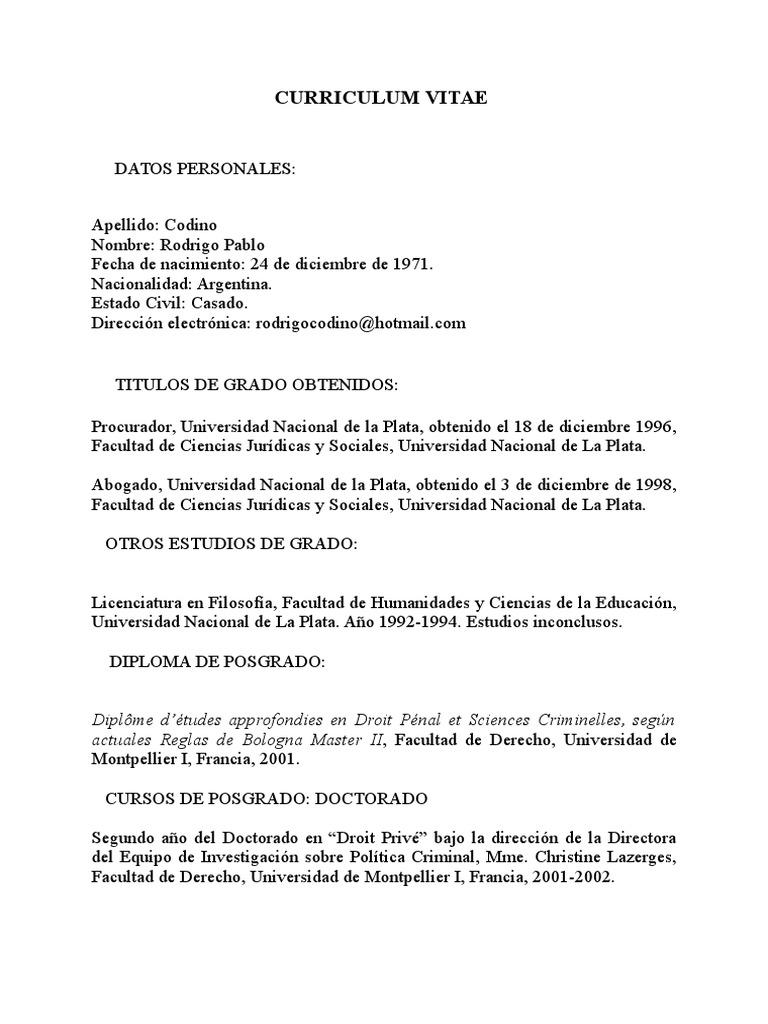 Curriculum Vitae Rodrigo