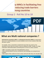 Role Played by MNCs in Facilitating Free Trade and Reducing Trade Barriers Among Countries