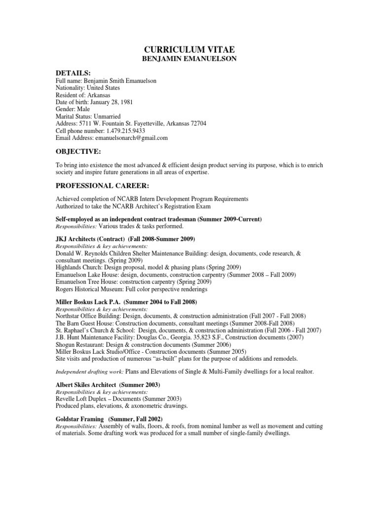 Curriculum Vitae Architect Design