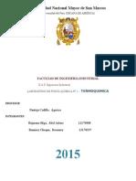 informe de termoquimica- laboratorio de fisicoquimica UNMSM
