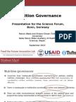 Nutrition Governance, Presentation for the Science Forum, Bonn, Germany, September 2013