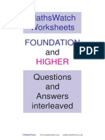 MathsWatch Worksheets Interleaved Q+A