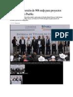 12-02-2015 Excélsior - Anuncian Inversión de 906 Mdp Para Proyectos Hidráulicos en Puebla