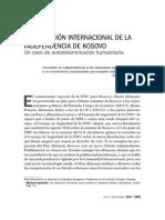 la Dimension Internacional de La Independencia de Kosovo Un Caso de Autodeterminacion Humanitaria