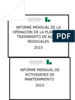 Informe Mensual de La Operación de La Planta de Tratamiento de Aguas Residuales