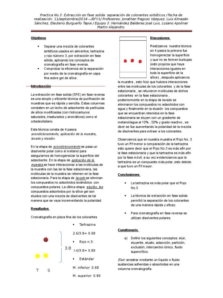practica 3 extraccion en fase solida separacion de colorante