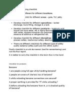 Product Checklist