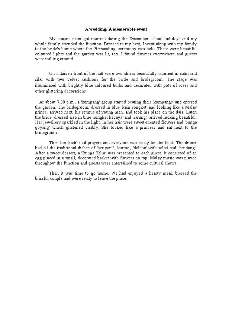 a family wedding essay for class 5