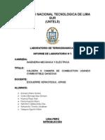 INFORME DEL LAB de TERCALDERA O CAMARA DE COMBUSTION USANDO COMBUSTIBLE GASEOSOMO II N_5 Combustible Gas 1 Para Imprimir