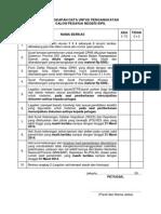 Checklist Kelengkapan Pemberkasan 2013