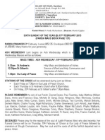 15th February 2015 Parish Bulletin