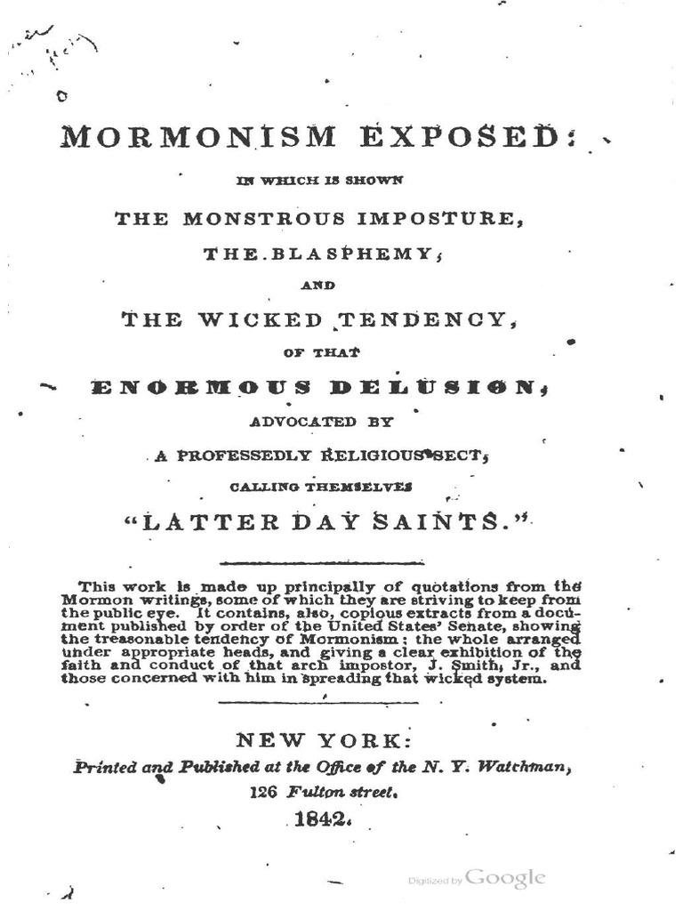 1842 Anonymous Mormonism Exposed Joseph Smith Andrew Regular 5 Pockets Hitam 34