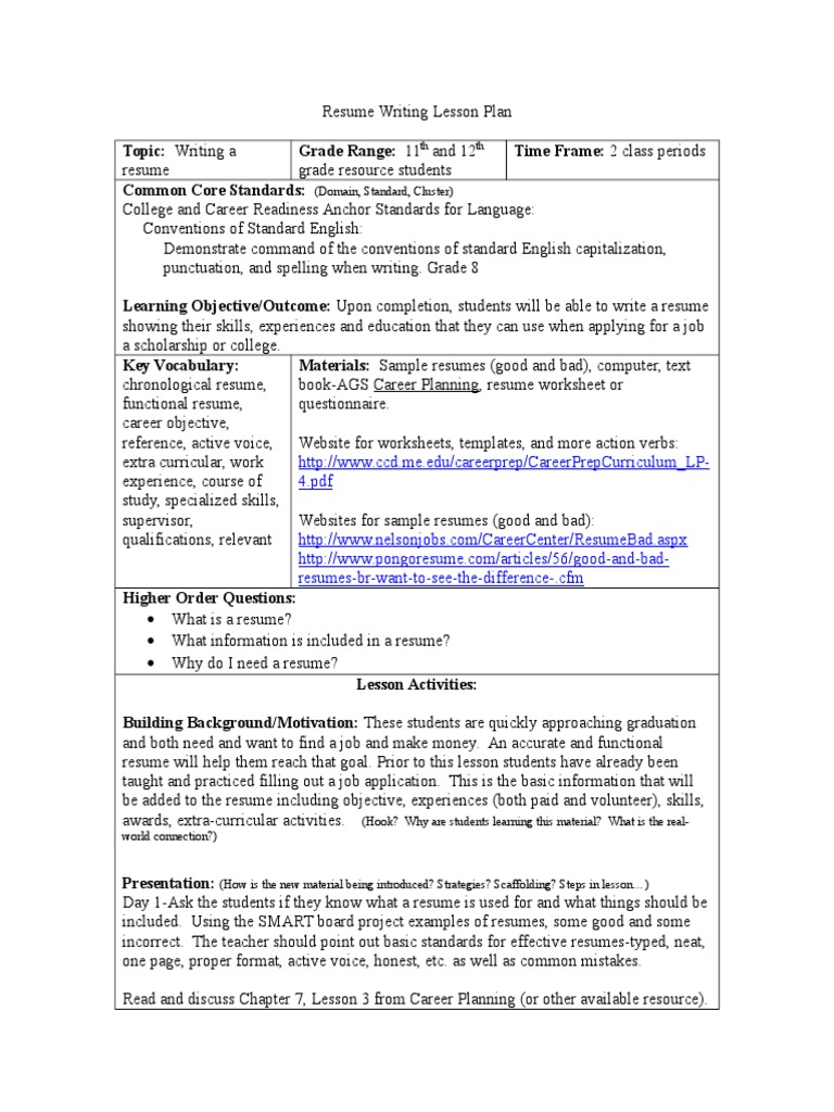 resume writing lesson plan