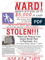 CrimeStoppers Flyer - Green  Brook Park Plaque