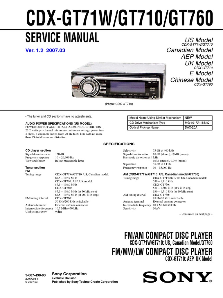 sony cdx gt710 wiring diagram electrical wiring diagram guide