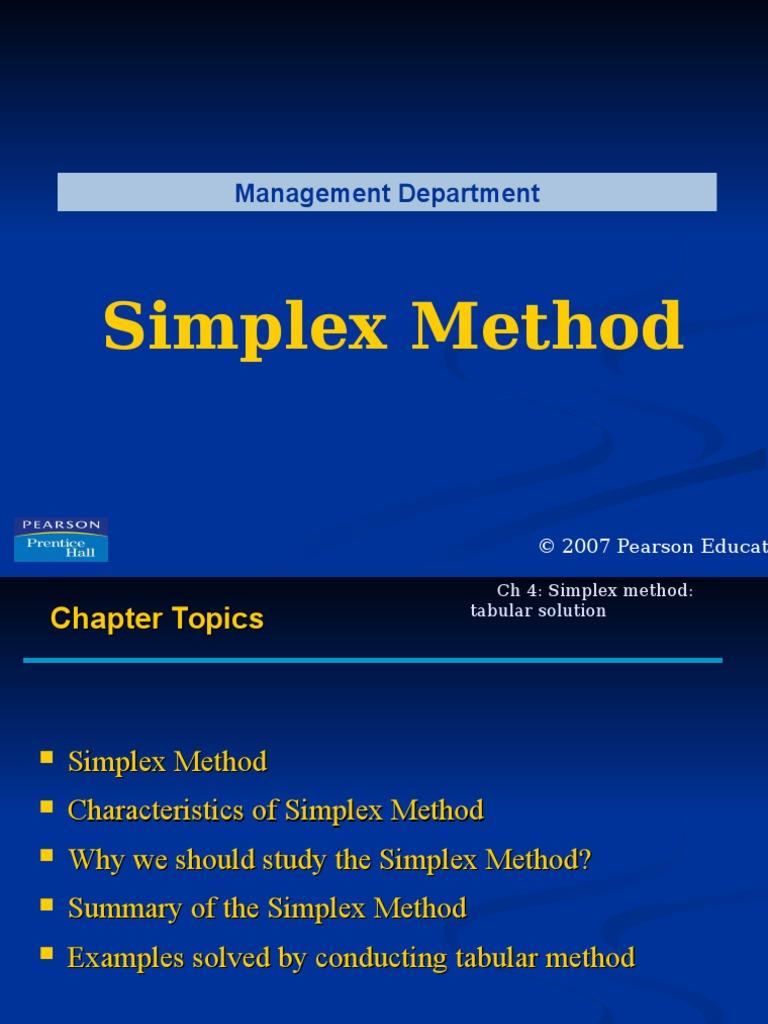 Simplex Method ppt | Mathematical Optimization | Linear Programming